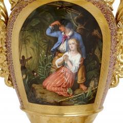 Gille Jeune Pair of large Gille Jeune Paris porcelain vases - 1459617