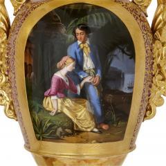 Gille Jeune Pair of large Gille Jeune Paris porcelain vases - 1459618