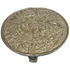 Gilt Bas Relief Aztec Calendar Coffee Table Cast Aluminium Mexican 1960s - 570666