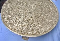 Gilt Bas Relief Aztec Calendar Coffee Table Cast Aluminium Mexican 1960s - 570667