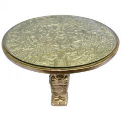 Gilt Bas Relief Aztec Calendar Coffee Table Cast Aluminium Mexican 1960s - 570668
