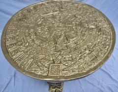 Gilt Bas Relief Aztec Calendar Coffee Table Cast Aluminium Mexican 1960s - 570669