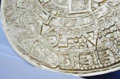 Gilt Bas Relief Aztec Calendar Coffee Table Cast Aluminium Mexican 1960s - 570670