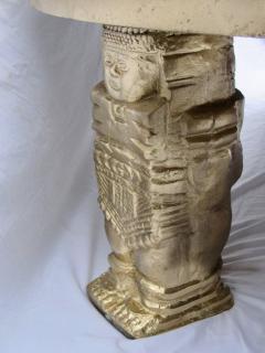 Gilt Bas Relief Aztec Calendar Coffee Table Cast Aluminium Mexican 1960s - 570672