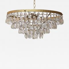 Gilt Brass and Crystal Mid Century Modern Chandelier by Palwa - 1798932