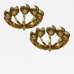 Gilt Bronze Light Fixture with Amber Globes - 657611