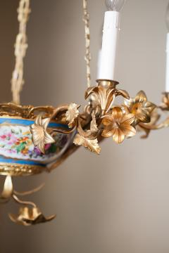 Gilt Bronze and Porcelain Six Light Chandelier - 1064122