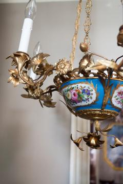 Gilt Bronze and Porcelain Six Light Chandelier - 1064130