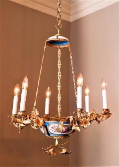 Gilt Bronze and Porcelain Six Light Chandelier - 1064131