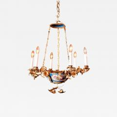 Gilt Bronze and Porcelain Six Light Chandelier - 1064389