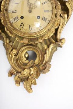 Gilt Wood Framed Swedish Wall Cartel Clock - 2106954