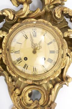 Gilt Wood Framed Swedish Wall Cartel Clock - 2106958