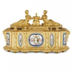 Gilt bronze and S vres style porcelain Louis XVI style casket on stand - 1954709