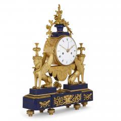 Gilt bronze and lapis French Empire period mantel clock - 1234907