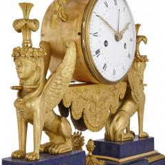 Gilt bronze and lapis French Empire period mantel clock - 1234910