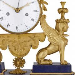 Gilt bronze and lapis French Empire period mantel clock - 1234911