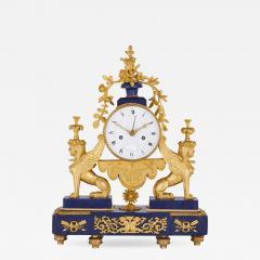 Gilt bronze and lapis French Empire period mantel clock - 1234964