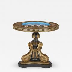 Gilt bronze and porcelain Louis XVI style circular side table - 1461846