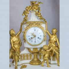 Gilt bronze and white marble Mantel Clock with Enamel Dial by Eug ne Hazart - 2034481