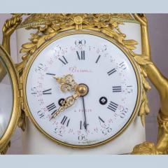 Gilt bronze and white marble Mantel Clock with Enamel Dial by Eug ne Hazart - 2034483