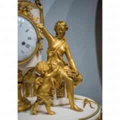 Gilt bronze and white marble Mantel Clock with Enamel Dial by Eug ne Hazart - 2034484