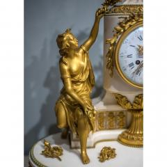 Gilt bronze and white marble Mantel Clock with Enamel Dial by Eug ne Hazart - 2034486