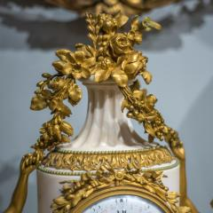 Gilt bronze and white marble Mantel Clock with Enamel Dial by Eug ne Hazart - 2034487