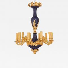 Gilt metal and lapis lazuli twelve light chandelier - 1907960