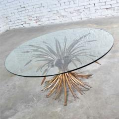 Gilt metal sheaf of wheat coffee table with glass top vintage italian - 1682154