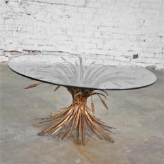 Gilt metal sheaf of wheat coffee table with glass top vintage italian - 1682182