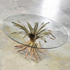 Gilt metal sheaf of wheat coffee table with glass top vintage italian - 1682184