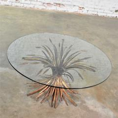 Gilt metal sheaf of wheat coffee table with glass top vintage italian - 1682203