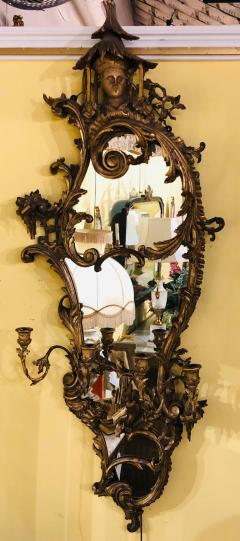 Giltwood Chinoiserie Style Wall Mirror with Girandole Continental - 1239551