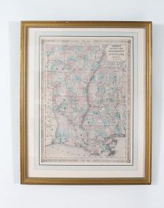 Giltwood Framed Matted Library Study Room Map - 1347635