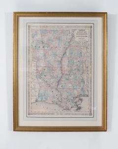 Giltwood Framed Matted Library Study Room Map - 1347636