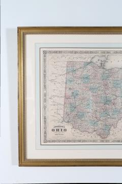 Giltwood Framed Matted Map Ohio - 1347613