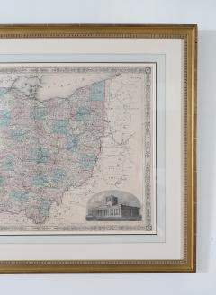 Giltwood Framed Matted Map Ohio - 1347614