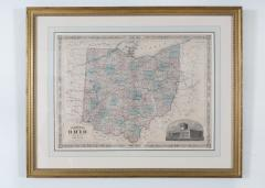 Giltwood Framed Matted Map Ohio - 1347615