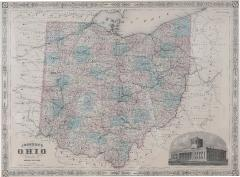 Giltwood Framed Matted Map Ohio - 1349484