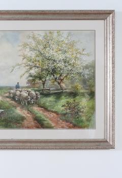 Giltwood Framed Water Color Painting - 1347534