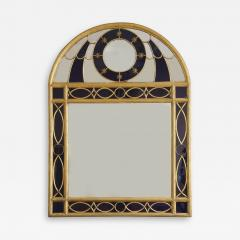Giltwood Gilt Pewter Mirror Set With Blue Glass In The Hollywood Regency Taste - 1829645