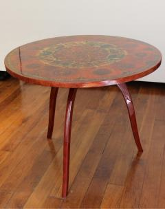 Ginette Raoult Ginette Raoult Pedestal table in red lacquer decorated with gold leaf - 1471429