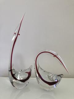 Gino Cenedese Pair Cenedese Glass large Murano birds - 1370212