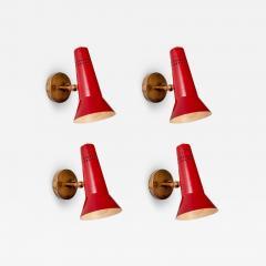 Gino Sarfatti Gino Sarfatti Model 21 Red Perforated Sconces for Arteluce circa 1955 - 1127146