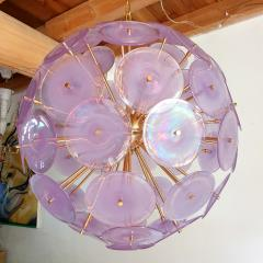 Gino Vistosi Large Mid Modern purple iridescent Murano disc sputnik chandelier Vistosi style - 2118392