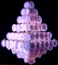 Gino Vistosi Majestic Chandelier Amethyst or Pink Murano Glass Discs by Gino Vistosi 1970s - 1235020