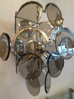 Gino Vistosi Mid Century Modern Italian Vistosi Smoked Glass Beveled Disc Chrome Chandelier - 602294