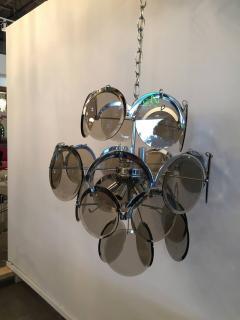 Gino Vistosi Mid Century Modern Italian Vistosi Smoked Glass Beveled Disc Chrome Chandelier - 602297