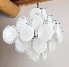 Gino Vistosi Mid Mod Pyramidal White Murano Glass disc chandelier Vistosi Italy 1980s - 2038185