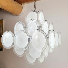 Gino Vistosi Mid Mod Pyramidal White Murano Glass disc chandelier Vistosi Italy 1980s - 2038186